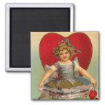 Dancing Girl Heart Valentine Square Magnet