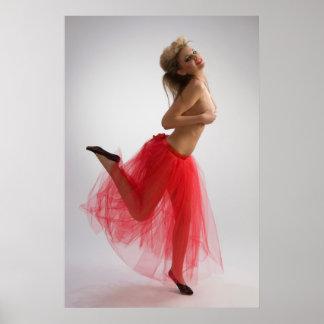 Dancing girl in red skirt poster