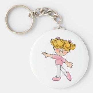 Dancing Girl Basic Round Button Key Ring