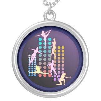 Dancing girl silver plated necklace