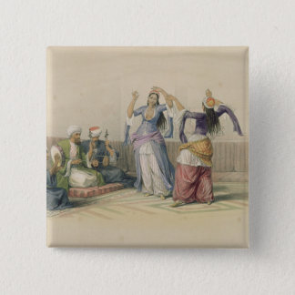 Dancing Girls at Cairo, from 'Egypt and Nubia' 15 Cm Square Badge