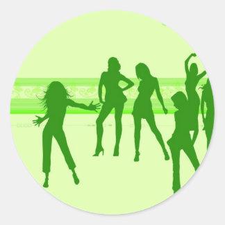 dancing girls round sticker