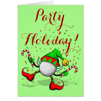 Dancing Golf Christmas Elf Card
