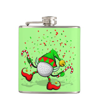 Dancing Golf Christmas Elf Flask