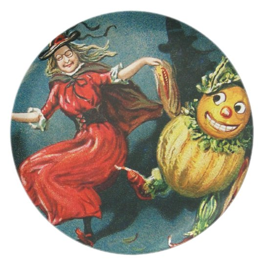Dancing Halloween Witch Plate