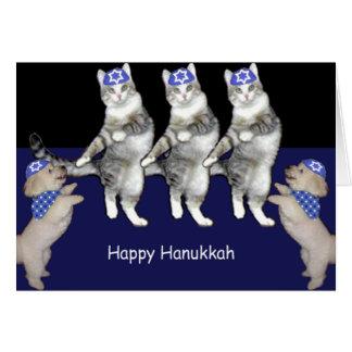 Dancing Hanukkah Kitties Greeting Card