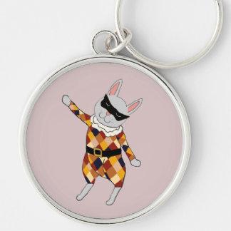 Dancing Harlequin Bunny Keychain