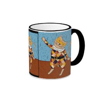 Dancing Harlequin Kitty Mug