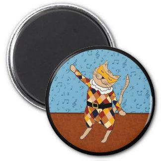 Dancing Harlequin Kitty Round Magnet