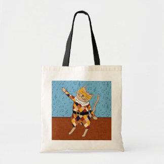 Dancing Harlequin Kitty Tote Bag