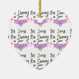Dancing in Scanties cute & funny handwritten logo Ceramic Heart Decoration