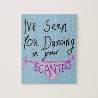 Dancing in Scanties cute & funny handwritten logo Jigsaw Puzzle
