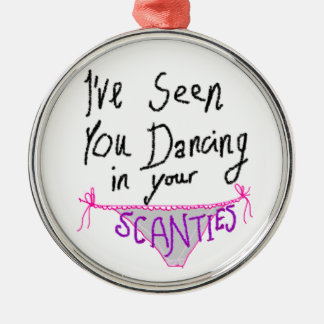Dancing in Scanties cute & funny handwritten logo Silver-Colored Round Decoration