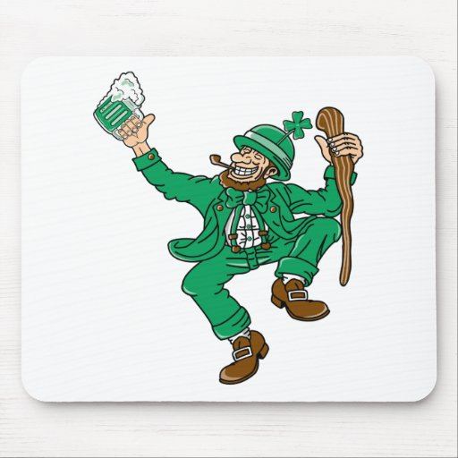 Dancing Irish Man With Green Beer Mouse Pads