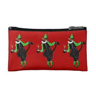 Dancing Jester Cat Cosmetic Bags