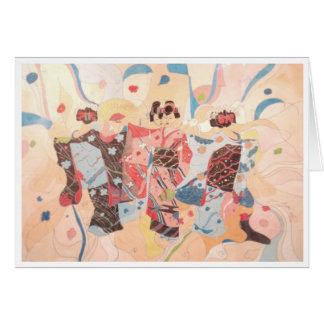 DANCING KIMONO, JAPANESE GEISHA CARD