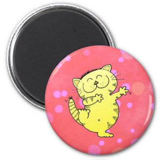 Dancing Kitten In Red Room 6 Cm Round Magnet