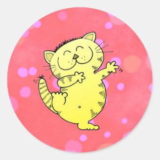 Dancing Kitten In Red Room Round Sticker