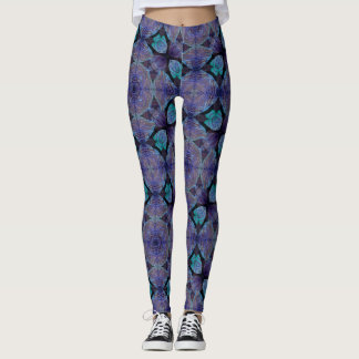 Dancing Leaves Blue Geometric Leggings