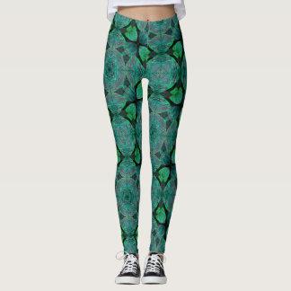 Dancing Leaves Turquoise Geometric Leggings