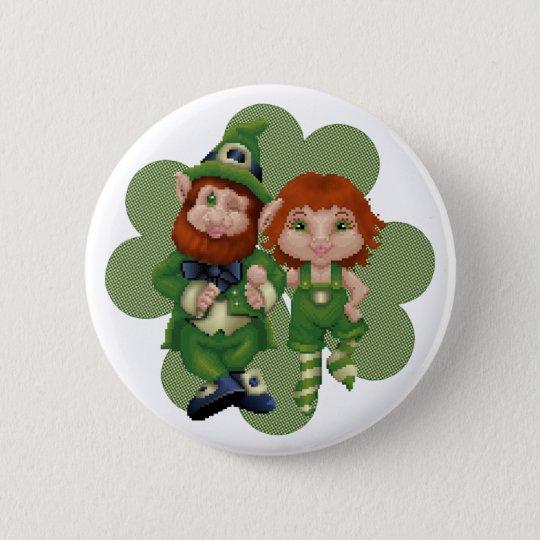 Dancing Leprecauns Pixel Art St. Patrick's Day 6 Cm Round Badge