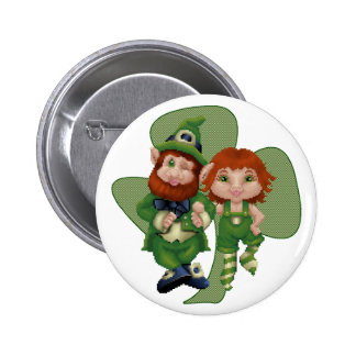 Dancing Leprecauns Pixel Art St. Patrick's Day Button