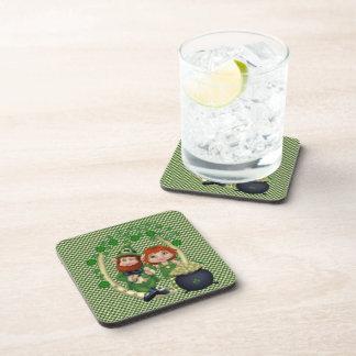 Dancing Leprecauns Pixel Art St. Patrick's Day Beverage Coasters