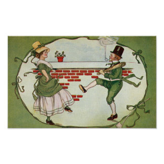 Dancing Leprechauns Vintage St. Patrick's Day Poster