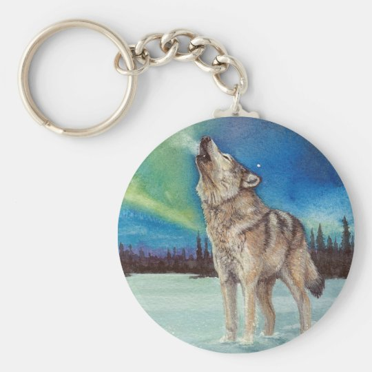 Dancing Lights howling wolf keychain
