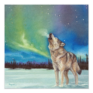Dancing Lights howling wolf square card