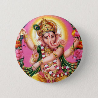 Dancing Lord Ganesha 6 Cm Round Badge