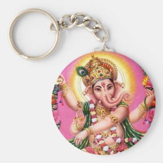 Dancing Lord Ganesha Basic Round Button Key Ring