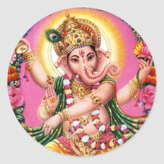 Dancing Lord Ganesha Classic Round Sticker