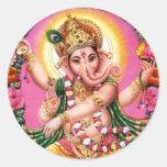 Dancing Lord Ganesha Round Sticker