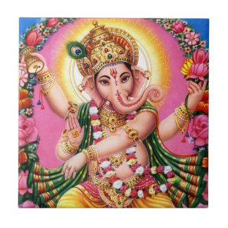 Dancing Lord Ganesha Small Square Tile