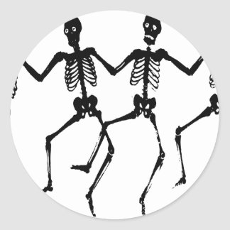 Dancing Macabre Halloween Skeletons Round Sticker