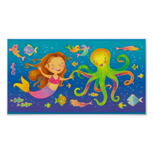 Dancing Mermaid and Octopus Poster