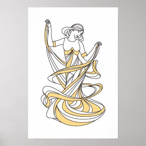 dancing muse - art deco poster