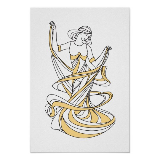 dancing muse - art deco poster