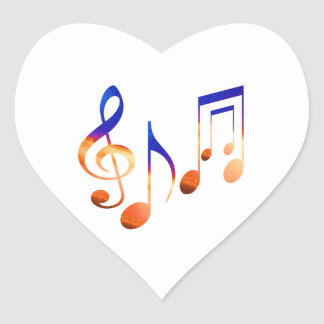 Dancing Music Signs Heart Sticker
