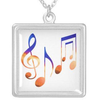 Dancing Music Symbols Square Pendant Necklace