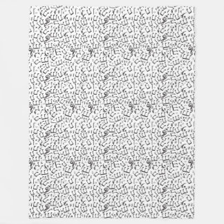 Dancing Notes in Black & White Fleece Blanket