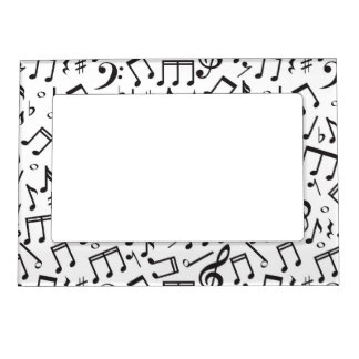 Dancing Notes in Black & White Magnetic Picture Frame