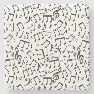 Dancing Notes in Black & White Stone Coaster