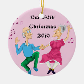 Dancing old people colored, Our 50th Christmas ... Christmas Ornament