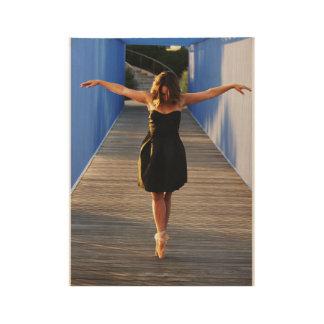 Dancing on a Bridge Wood Poster