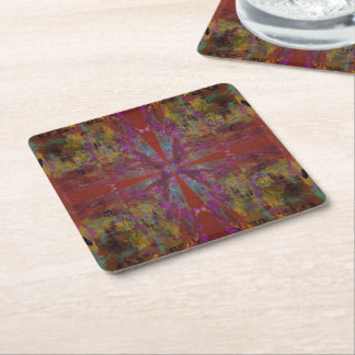 Dancing on Red Abstract Design Square Paper Coaster