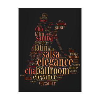 Dancing pair as words cloud design stretched canvas print
