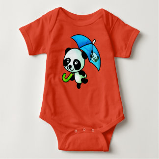 Dancing Panda with Umbrella Baby Bodysuit