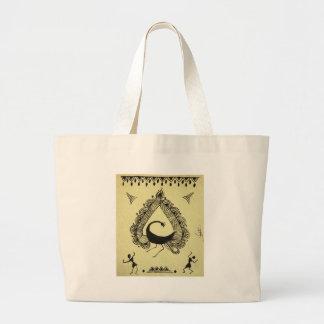 dancing peacock canvas bag